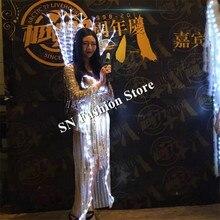 MD18 LED luminoso cantante mujeres visten trajes de danza de la etapa del LED con luz catwalk mostrar ropa bellydance cosplay dj lleva