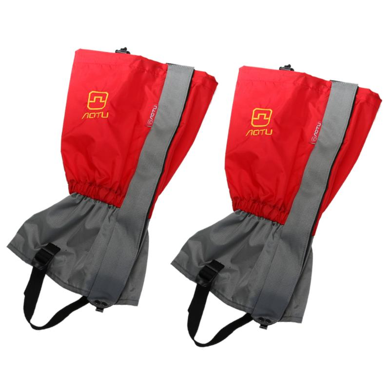 1Par Red Snow Gaiters Cover Winter Outdoor Leg Cover Boot Skiing Waterproof Gaiters Cover Legwarmers