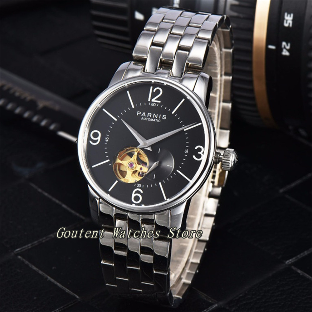 38mm Parnis Stainless Steel Black Dial Miyota Automatic Movement Men's Watch image