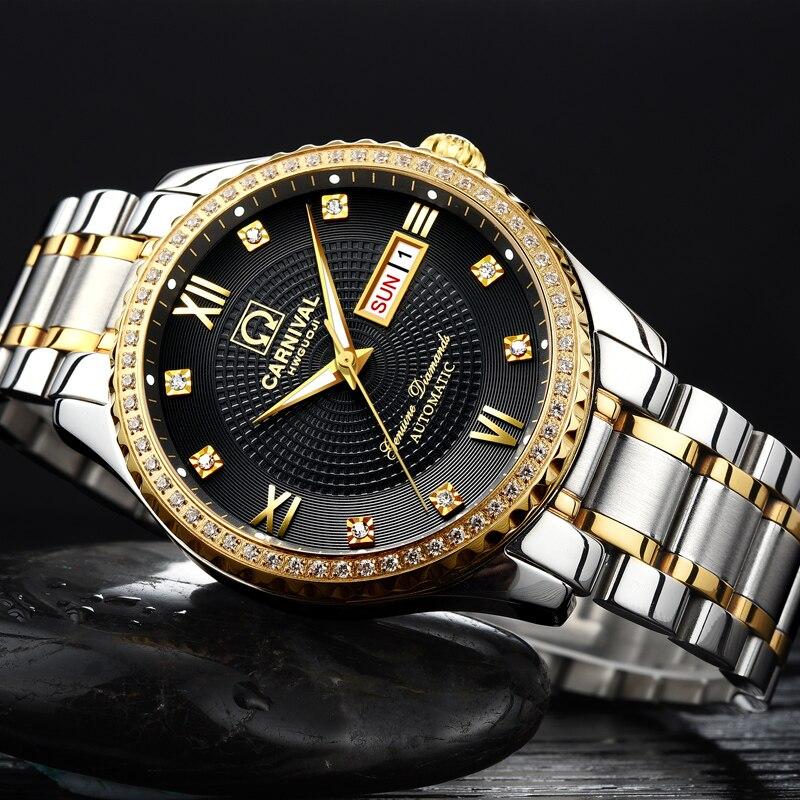 Luxury Carnival Mechanical Watch Men Diamond Sapphire Waterproof LuminousCalendar Male Wristwatch reloj hombre цена и фото