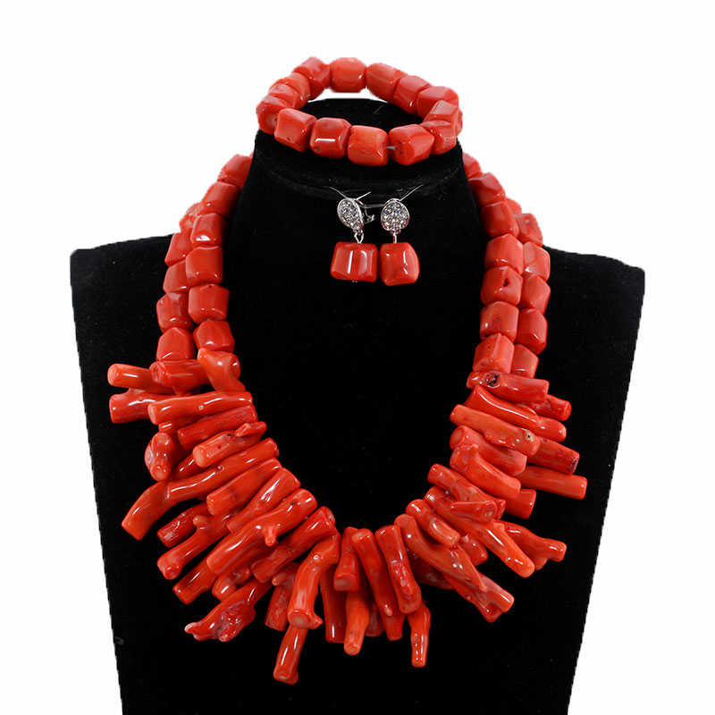 HTB1ec3vlm I8KJjy0Foq6yFnVXaS African Nigerian Wedding Coral Beads Jewelry Set Green Chunky Beads Statement Necklace Set Baroque Style CNR035