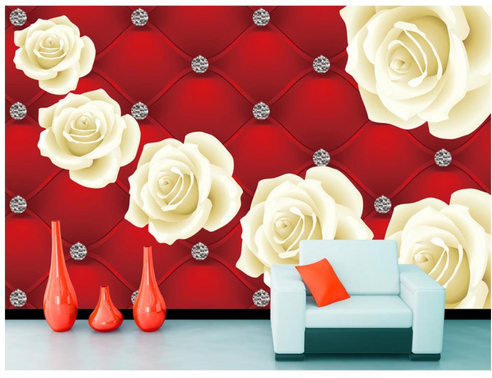 Wallpaper 3d flower red white rose background wall living for Red flower wallpaper living room