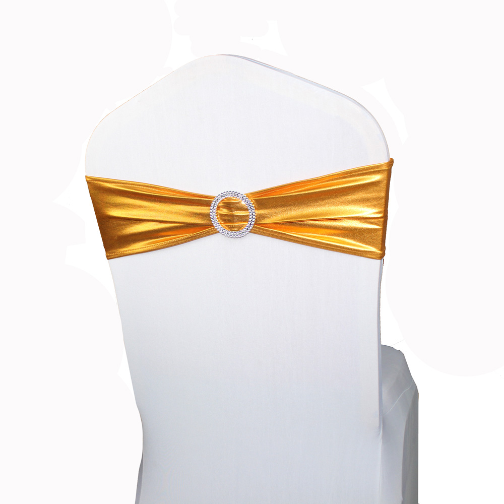 Wholesale 100 Gold Chair Sashes Bands Spandex Lycra Chair Sash Bows for Wedding Party Home Chair