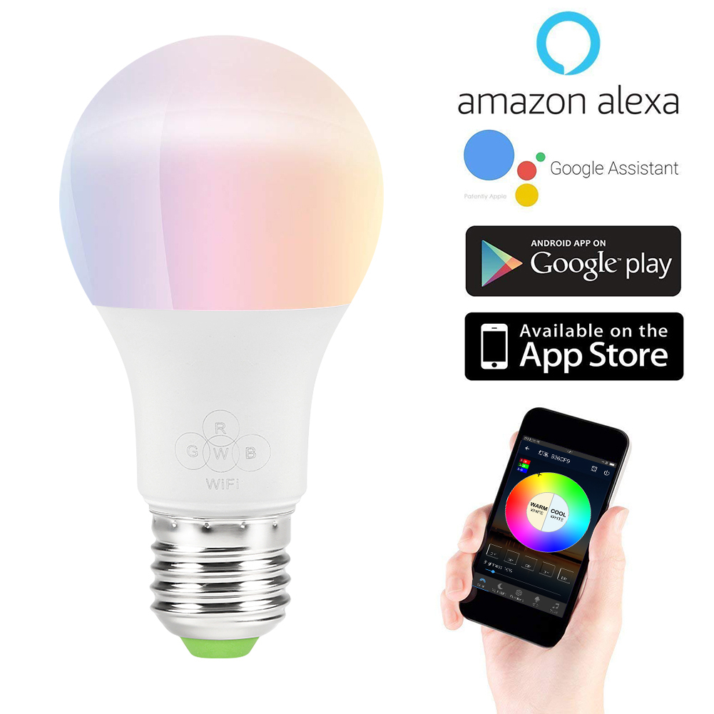 smart wifi light bulb dimmable light multicolor wake up lights no hub required compatible. Black Bedroom Furniture Sets. Home Design Ideas