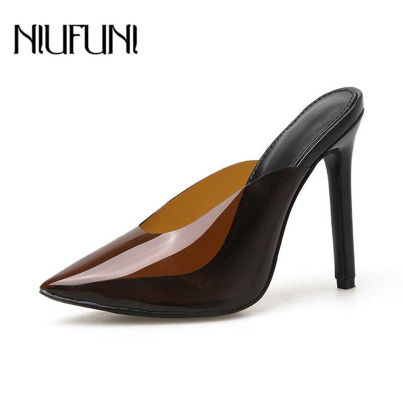خنجر شفافة وأشار اصبع القدم NIUFUNI النعال المرأة الصنادل أحذية الصيف 2019 جديد عالية الكعب الأحذية عارضة السيدات صندل