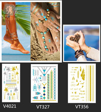 3 sheets/set Hawaii Temporary Tattoos Metallic Gold Silver Jewelry for Hands Foot Body Trending Tats Summer Flash Tatoo