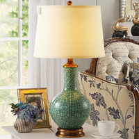 Luxury Chinese Style Green Crack Creamic Table Lamp Luxury Bedroom Bedside Lamp Ceramic Decoration Lamp Abajur