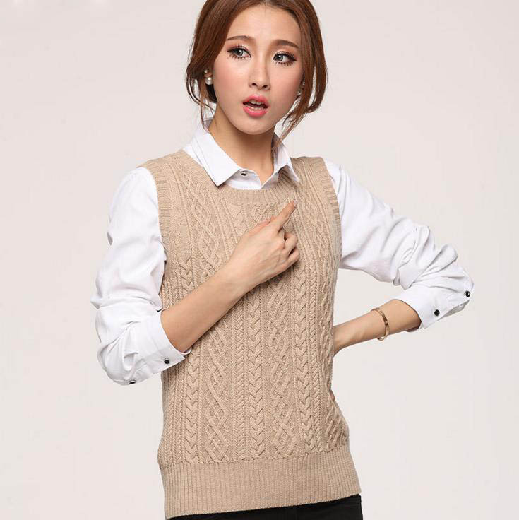 New Spring Women Casual Wool Cashmere Vest Female Sleeveless ...