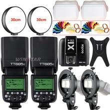 2x Godox tt685c 2.4 г Беспроводной HSS 1/8000 s E-TTL Камера Вспышка Speedlite + x1t-c триггер + Bowens Кронштейн для Canon Зеркальные фотокамеры