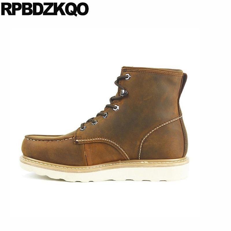 Retro Genuína Combate Curto Segurança 2018 Artesanal Couro Exército Trabalho Homens Cheio Sapatos Do Grão Marrom Militar Botas De Tornozelo Queda Owq55x74