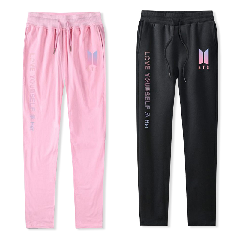 BTS Bangtan Boys Kpop Love Yourself Women/Men Pants 100% Cotton Casual Warm Sweatpants J ...