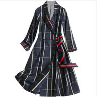 Plaid Trench Female Coat Lace Up Patchwork Long Sleeve Hit Color Women's Windbreaker 2018 Autumn Fashion Tide