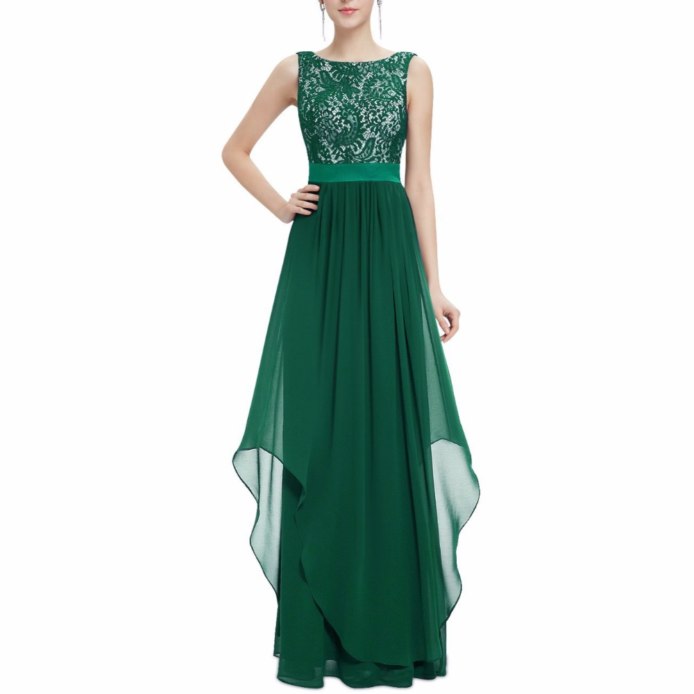 Women's Retro Floral Lace Slim Chiffon Maxi Dress Vintage Elegant - Women's Clothing