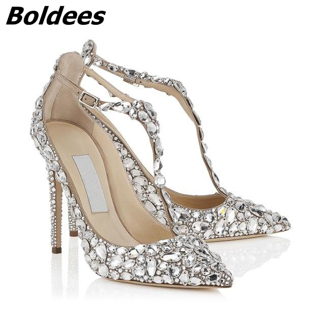 Chic Silvery PU T-strap Buckle Style Heels Glittering Crystal Decorated Pointy Stiletto Heel Pumps Gorgeous Wedding Glass Shoes rhinestone decorated stiletto heels