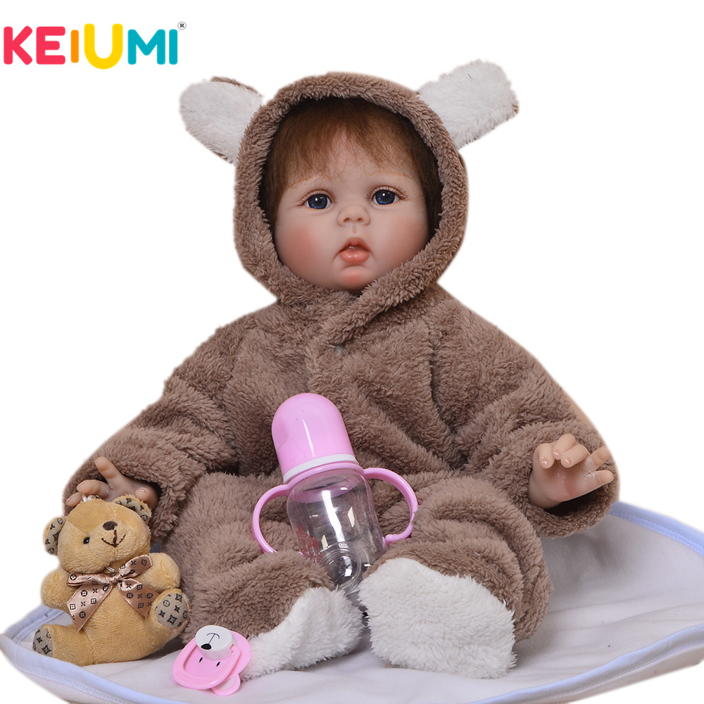 KEIUMI 22 Inch Lifelike Reborn Doll Soft Silicone 55 cm Realistic Baby Doll Toy For Girl Kids Birthday Gift Ethnic Doll Playmate keiumi 22 55 cm realistic baby alive boy doll soft silicone vinyl lifelike reborn doll toy for toddler birthday xmas gifts