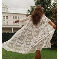 STOCK Women's Cover Ups White Overall Lace Cover Up Hollowed Out Bikinis Beach Long Cover Oversized Boho Bath Suit Cover Up