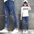 Calças de Brim meninas Dos Desenhos Animados Calças Jeans Para Meninas Roupas para Crianças 4 6 8 10 12 14 Anos de Patches de Cintura Elástica Calças Roupas Adolescentes