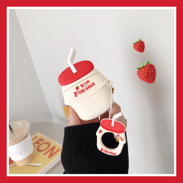 Image 2 - 3D Cute BINGGRAE Banana Strawberry Yogurt Milk Bottle Earphone Cases For Apple Airpods 1 2 Silicone Protective Headphones Cover-in Earphone Accessories from Consumer Electronics