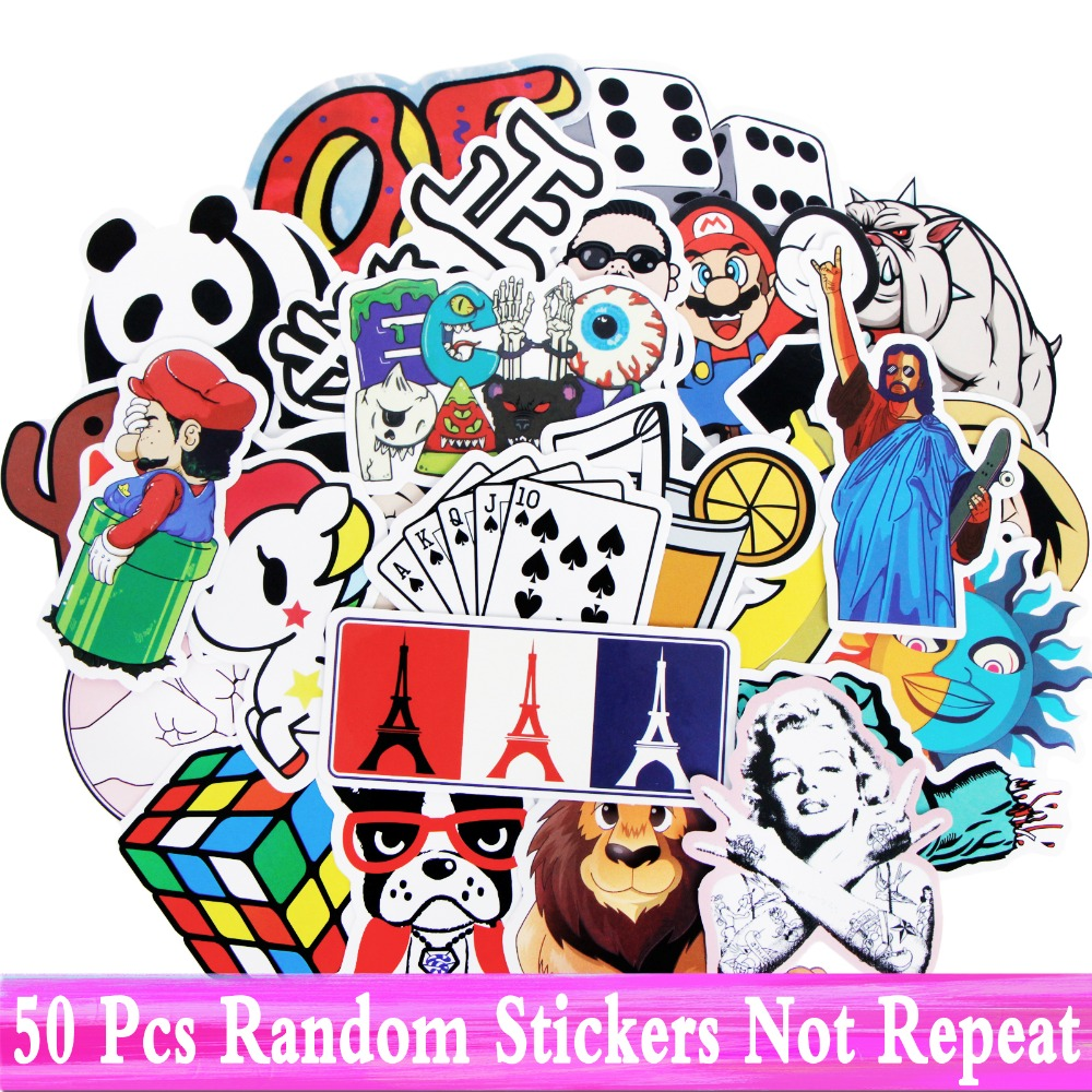 50 Pcs Mixed Cool DIY JDM Stickers Styling Car Stickers Laptop Guitar Bike Motocycle Luggage Case Skateboard Doodle Decor Toys