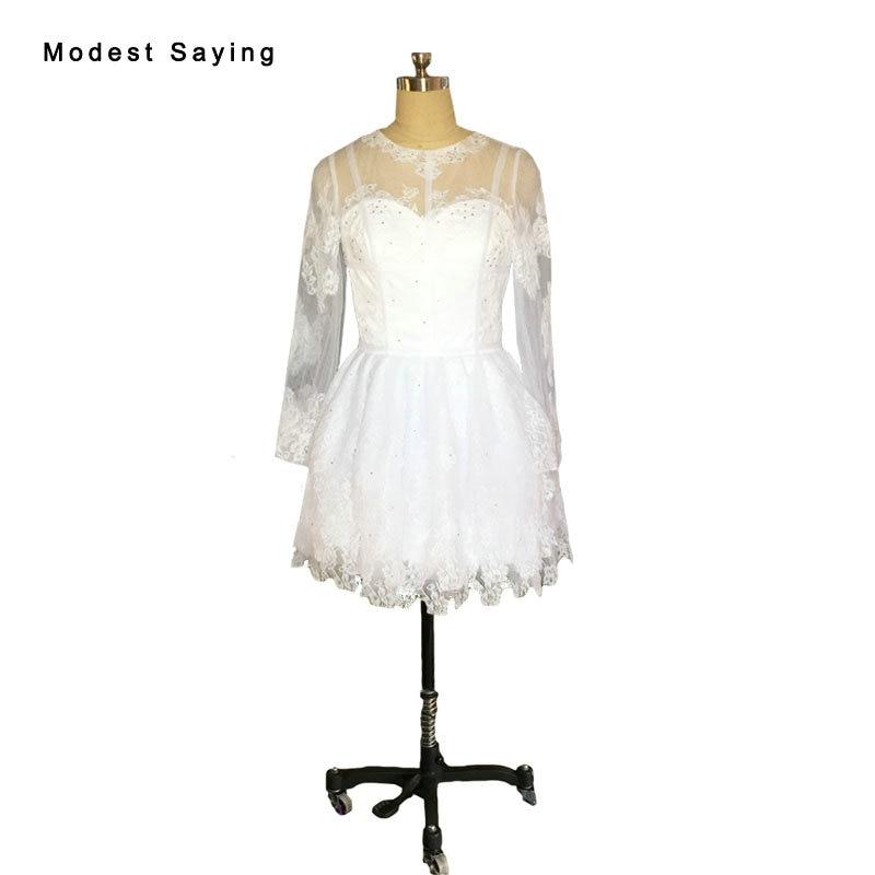 Elegant White Ball Gown Long Sleeve Beaded Lace Party   Cocktail     Dresses   2017 Formal Short Mini Prom Gown vestidos de coctel JE110
