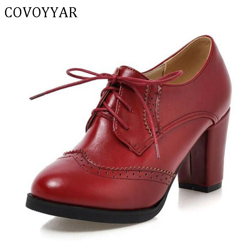 COVOYYAR 2019 Vintage Lace Up Women Pumps Cut Out Oxford Shoes Chunky Heel Patent Leather High Heels Lady Ankle Boots WHH132