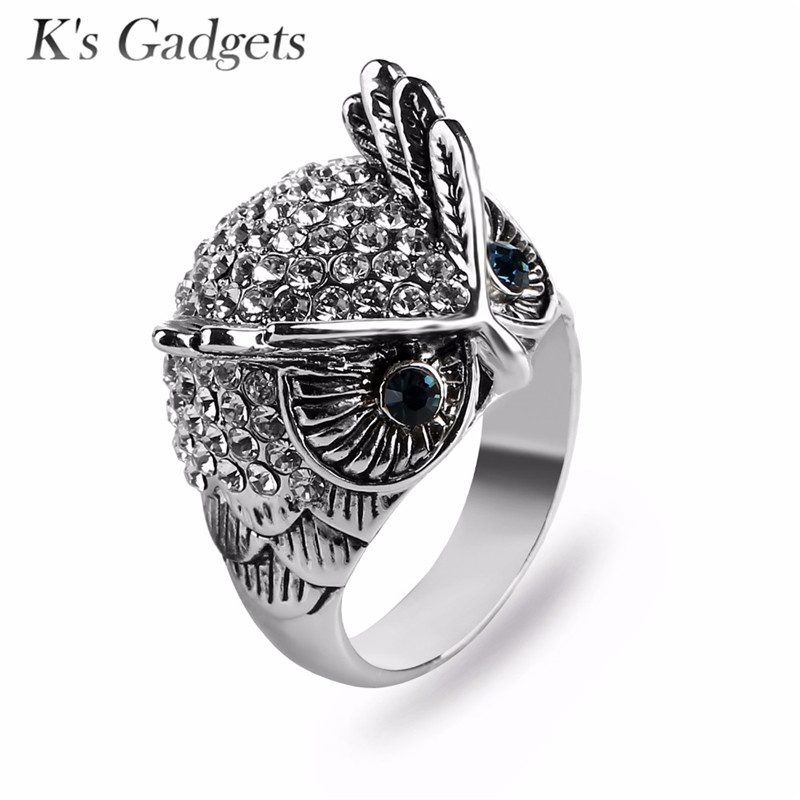 Ks Gadgets Big Owl Ring Antique Titanium Gold Crystal Rhinestone Punk Rock Animal Rings For Women Cocktail Party Fine Jewelry