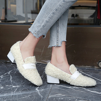 XiuNingYan Woman Pumps Spring and Autumn Pumps Flock Ladies Shoes with Wool Balls Women's Shoes Genuine Leather Shoes 2019