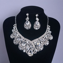 Woman White Rhinestone Glass Jewelry Sets Pendant Necklace Pin Earrings Bride Fashion Wedding Dress Dangle Accessories 115g