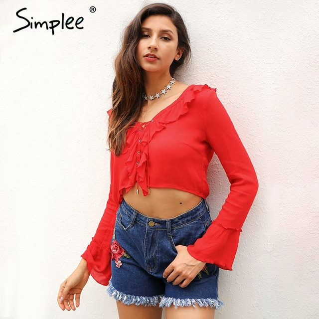 Simplee Ruffles lace up chiffon blouse shirt women Sexy v neck flare sleeve tassel tank top 2017 Summer beach short blusas