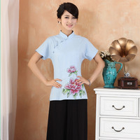 New Arrival Chinese Style Cotton Linen Female Tang Suit Tops Blouse Traditional Shirt Plus Size S M L XL XXL 3XL 4XL 2377