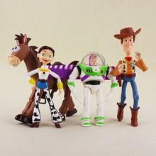 4 unids lote Cosplay el Toy Story 3 Buzz Lightyear Woody Jessie BullsEye  PVC figura de acción muñeca modelo Juguetes para niños . ff23e7650eb