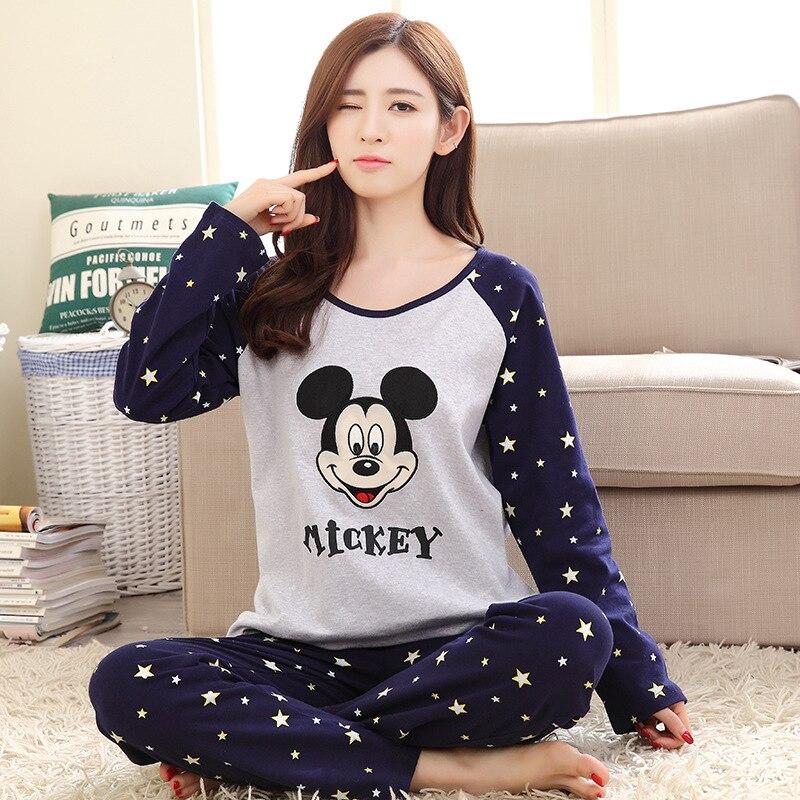 Neue Auflistung 2018 Freizeit Baumwolle Loungewear Pyjamas frauen Kleidung SleeveTops Lange Set damen Pyjamas Sets Nacht Anzug Nachtwäsche