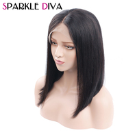 Short Bob Lace Front Human Hair Wigs Peruvian Straight Wig With Baby Hair And Natural Hair Line Non Remy Hair Wig Sparkle Diva
