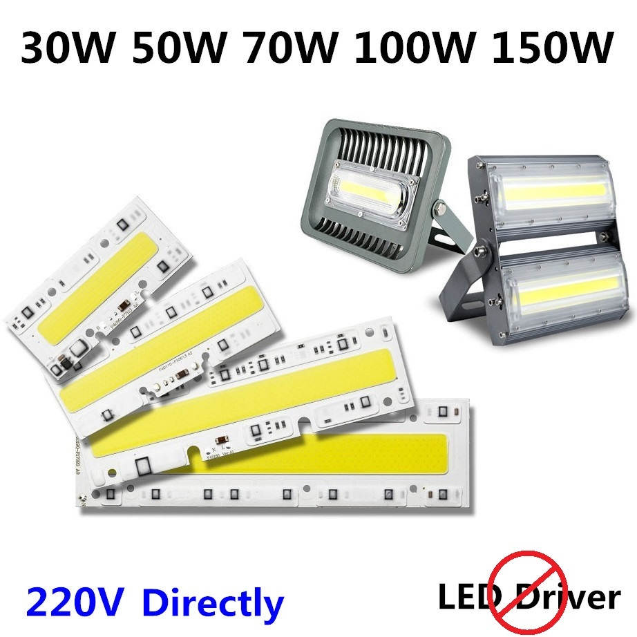 1pc 30w 50w 70w 220v led cob chip bulb outdoor lamp light ip65 led integrated chip smart ic diy led flood light warmcool white