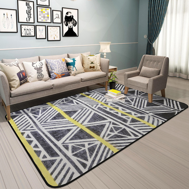Geometric Printed Rectangles Carpet Rugs Soft Thicken Bohemian Floor Mats Living  Room Bedroom Non Slip