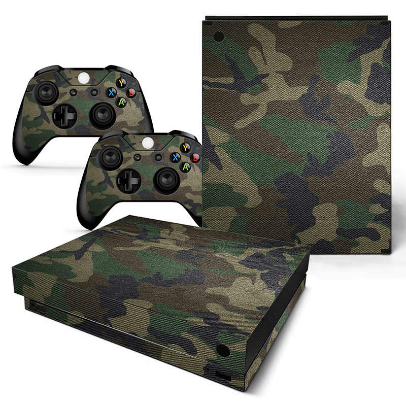 Green Camo protective skin sticker for Xbox one X console and conctroller