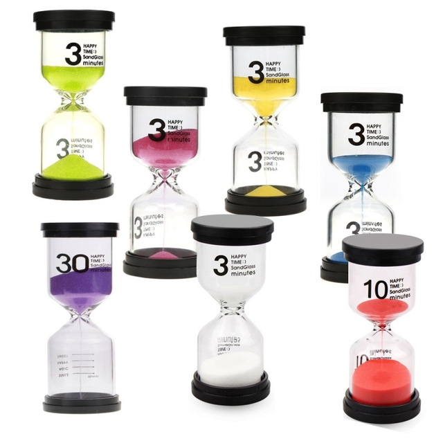 Home Decoration Colorful Glass Hourglass Timer Clock 3/5/10/30 Minutes For Kids Hourglass Sand Clock Teeth Brush Timer Shower