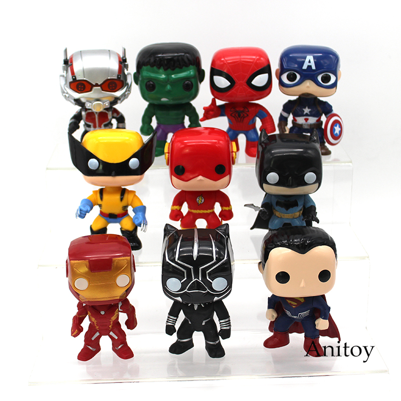 Super Heroes Superman Batman Spiderman Captain America Iron Man Ant Man Hulk Logan Black Panther The Flash Figure Toys 10pcs/set marvel legends avengers civil war captain america iron man black widow black panther scarlet witch ant man pvc action figure toy