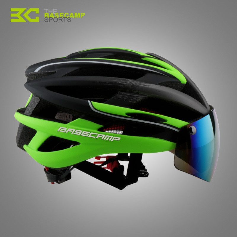 T Basecamp Bicycle Helmets 2017 Men 3 Lens Magnetic Goggles Integrally-molded MTB Bike Casco Ciclismo Casque Velo Cycling Helmet new bicycle helmets sunglasses cycling glasses 3 lens integrally molded men women mountain road bike helmets 56 62cm