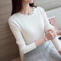 New Solid Color Women O Neck Knitted Sweater Female Knitted Slim Pullover Girls All Match Basic