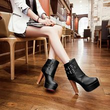 2014 New fashion sexy high-heeled knight waterproof boots Autumn and winter Martin short boots thick heel Platform women shoes