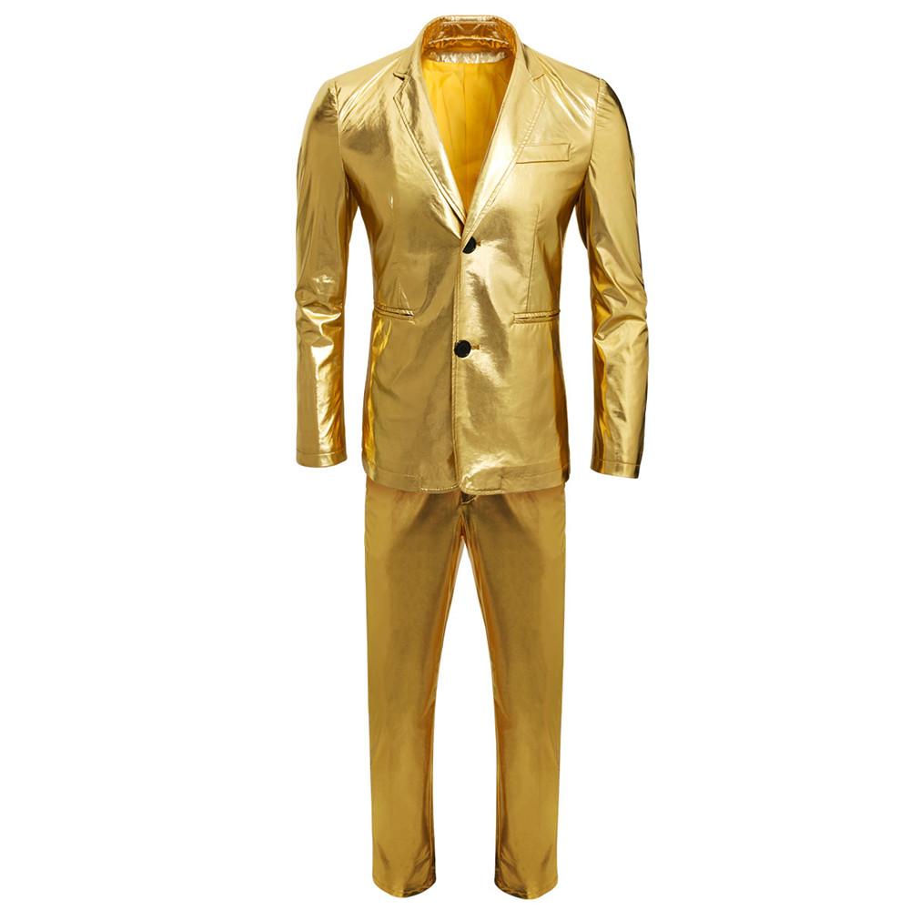남자 2018 새로운 금속 정장 골드 반짝 이는 드레스 정장 캐주얼 슬림 맞는 파티 웨딩 의상 가수 댄서 정장 재킷 + 바지-에서정장부터 남성 의류 의  그룹 1