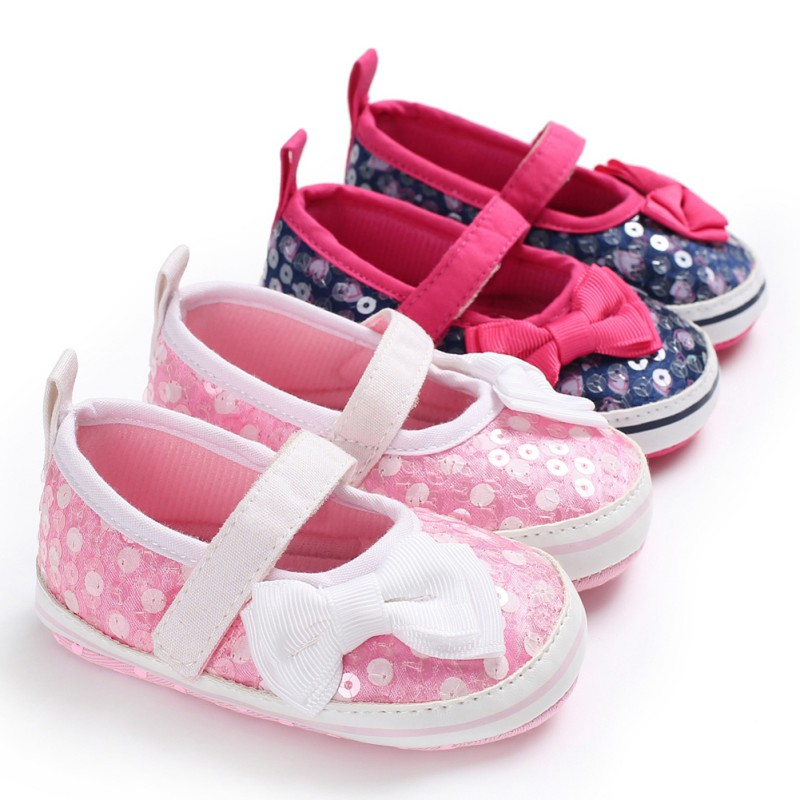 Spring Bow-knot Baby Girl First Walkers Anti-slip Soft Sole Bottom Walking Princess Shoes