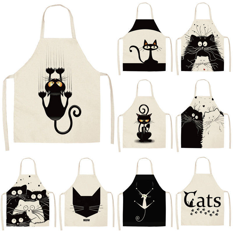1Pcs Kitchen Apron Cute Cartoon Cat Printed Sleeveless Cotton Linen Aprons for Men Women Home Cleaning Tools 53*65cm WQ0029-in Aprons from Home & Garden