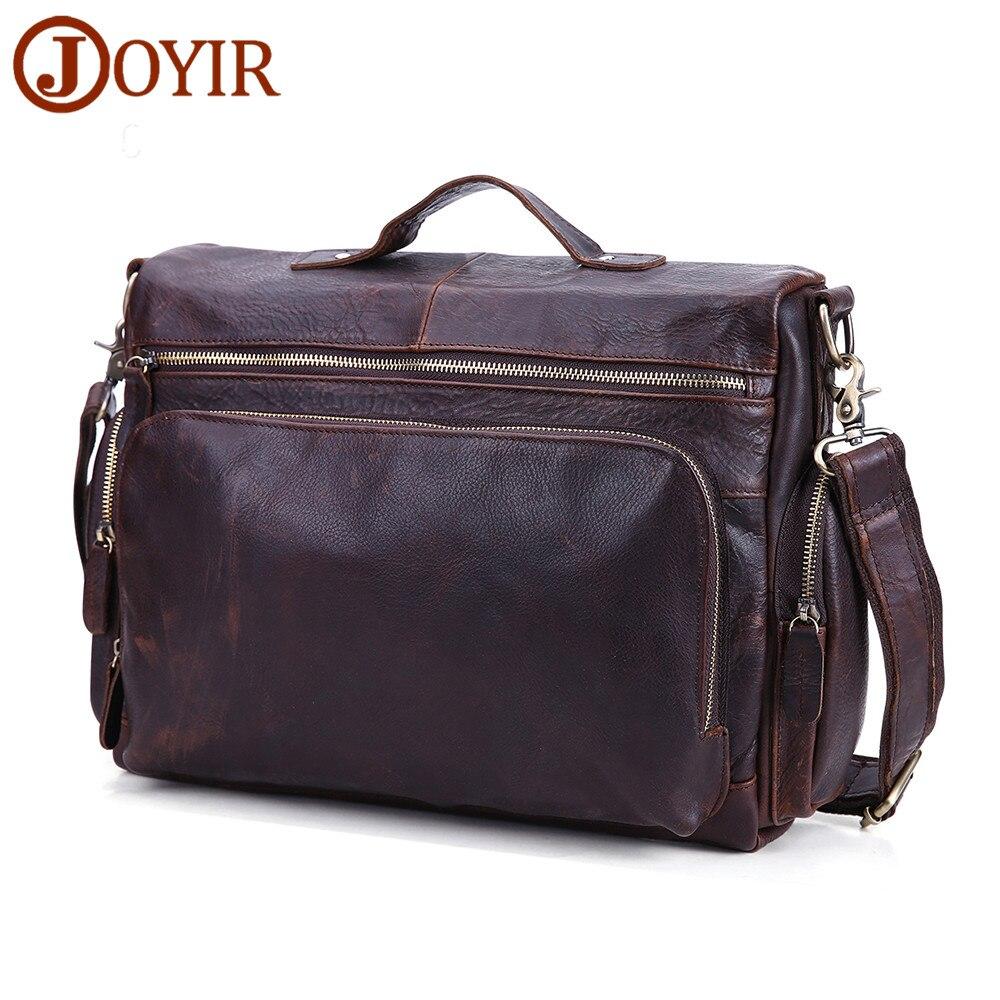 JOYIR Men's Briefcase Vintage Genuine Leather Crossbody Bag 12 inch Laptop Shoulder Bag Business Handbags Messenger Male Bags все цены