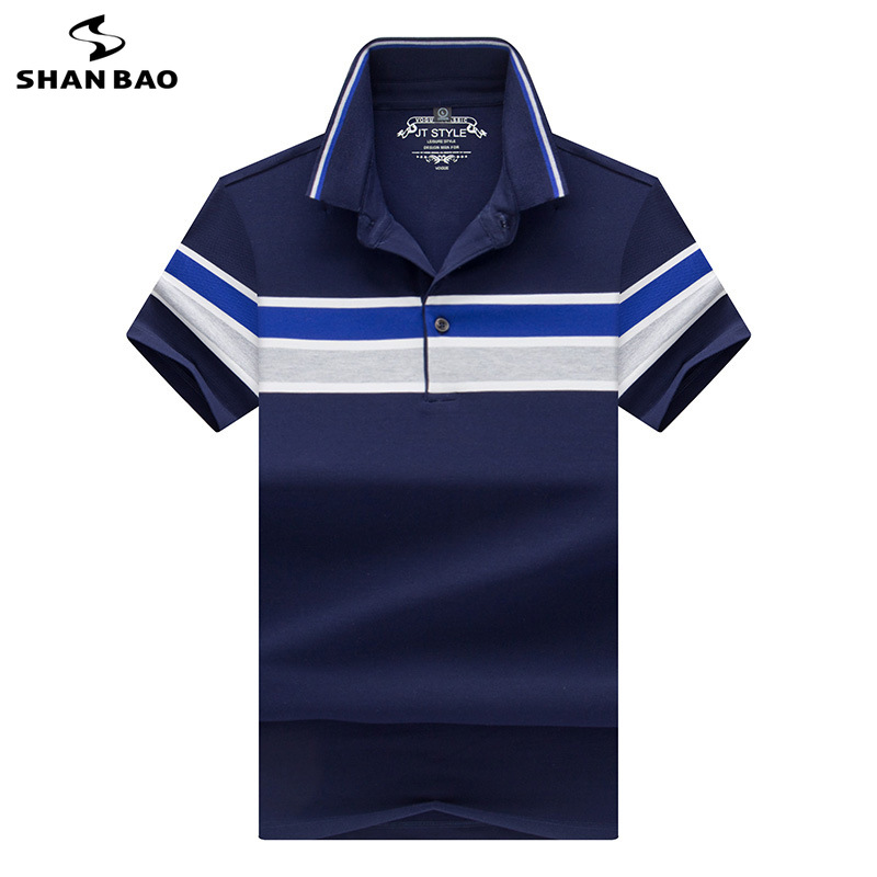2019 Summer New Style Comfortable Cotton Men's Short Sleeve   Polo   Shirt High Quality Button Business Casual Lapel Stripe   POLO