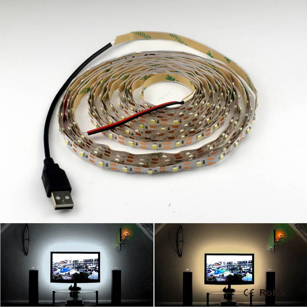 все цены на 5V 50CM 1M 2M 3M 4M 5M USB Cable Power LED strip light lamp SMD 2835 usb port 5V led strip Decor lamp tape For TV Background онлайн
