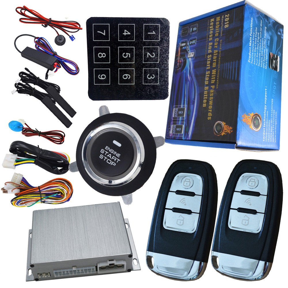 auto car security alarm system with passwords keyless entry lock or unlock car door long distance remote start stop function car auto engine start stop button smart key alarm security keyless entry lock or unlock by passwords pke auto central lock car
