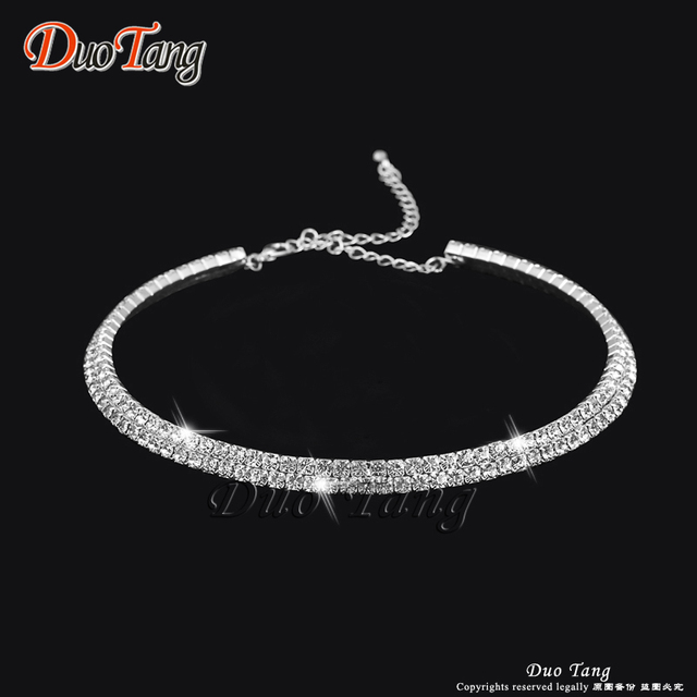 DuoTang Rhinestone Crystal Choker Necklace, Earrings and Bracelet Set