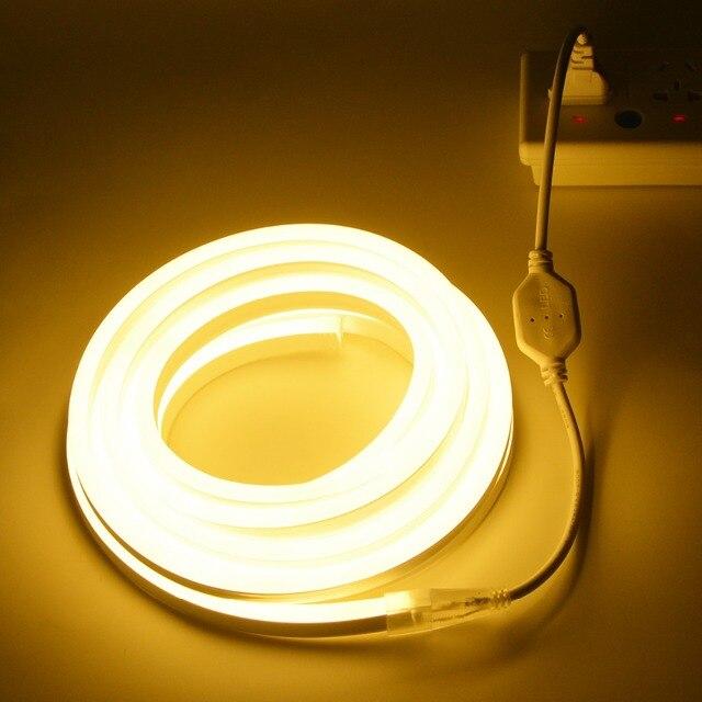 Morbido Flessibile LED luci della Corda Al Neon 220V UE di Alimentazione LED di Alimentazione Luce di Striscia Impermeabile di Illuminazione Della Decorazione Nastro di Luce emitting Diode